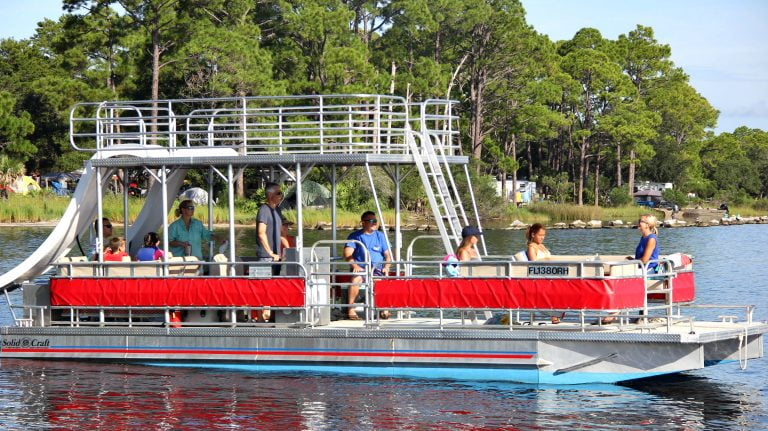 A Double Decker Panama City Beach Pontoon Boat Rentals at Shell Island in St Andrews State Park