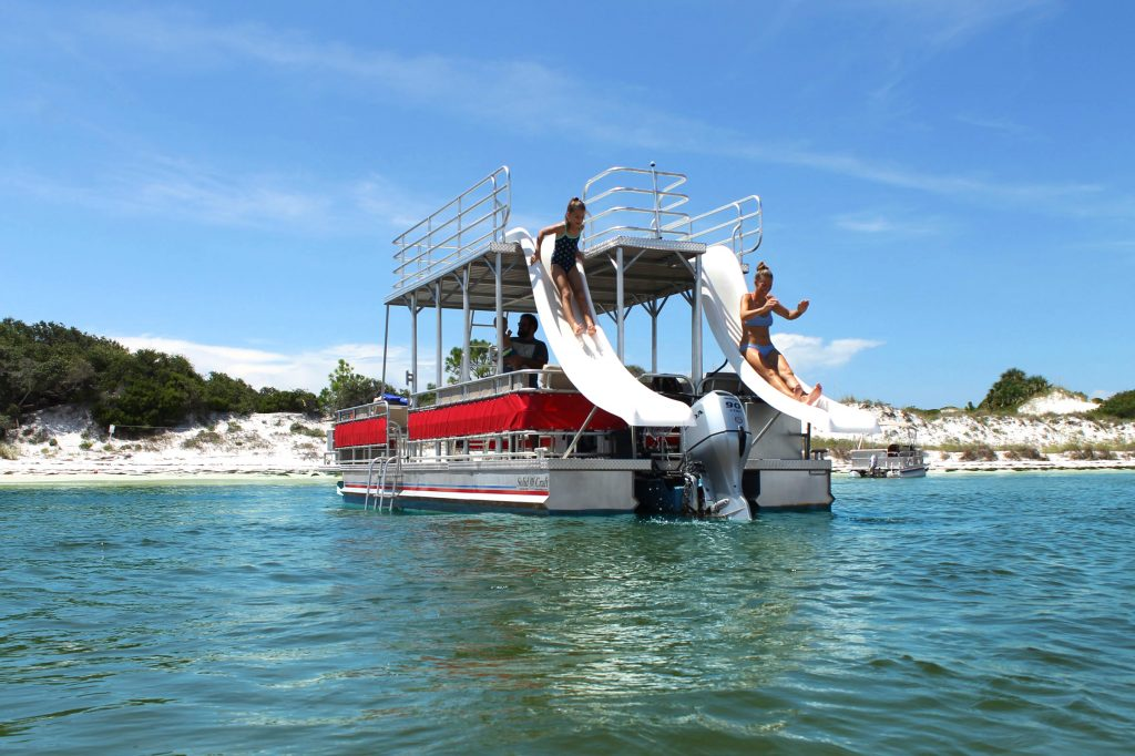 Have fun on a double decker pontoon boat at Shell Island